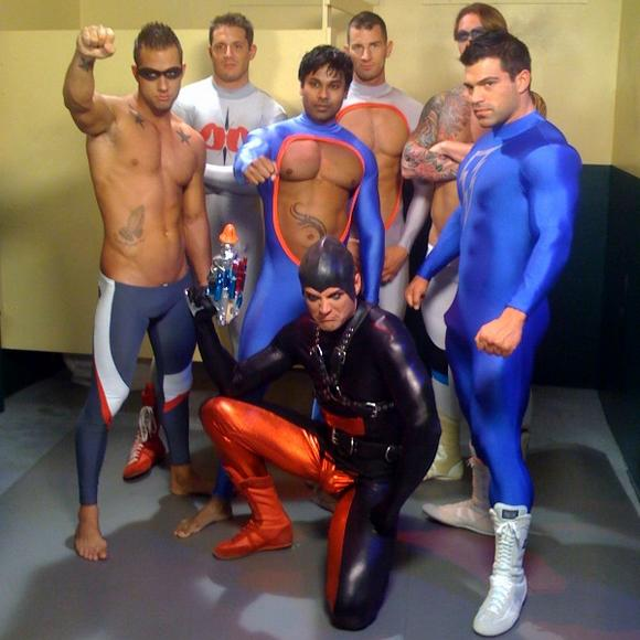 Jobe Zander in spandex on the set of Hard Hereos upcoming release