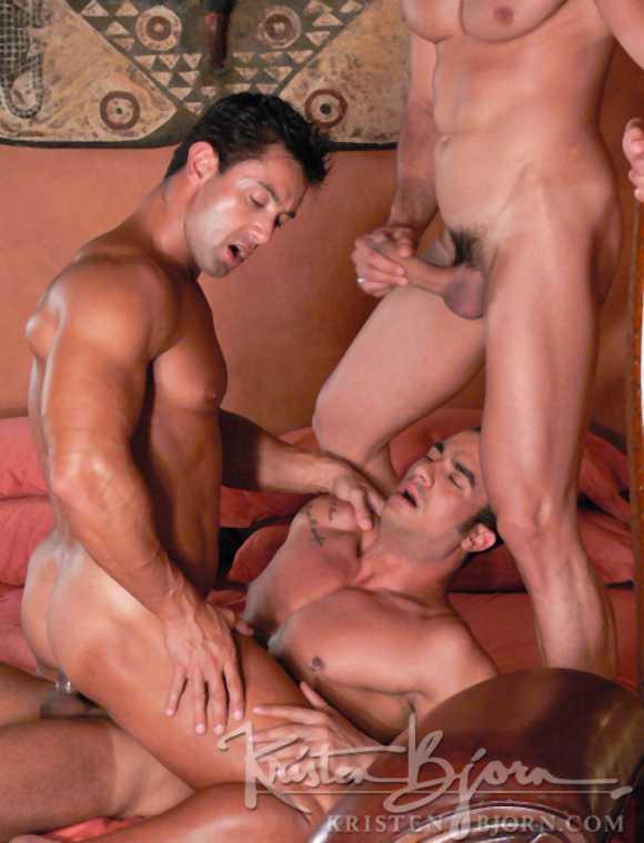 Brazilian muscular bodybuilder gay porn star Carlos Montenegro Freddy Navas getting fucked in Kristen Bjorn movie PRIDE