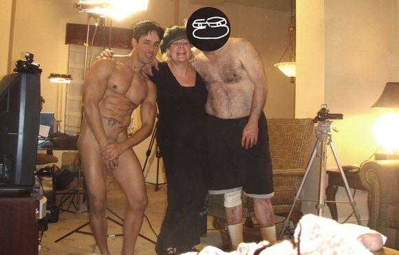 naked gay porn star Rafael Alencar with Mr Pam and Peter behind the scenes gay porn
