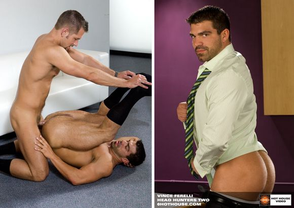 Hot House Exclusive gay porn star and Bodybuilder Vince Ferelli in office suit getting fucked by Andrew Justice