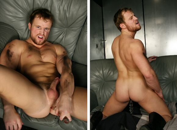 muscular gay porn star Nash Lawler fucks himself with a dildo sex toy at Massive Studios