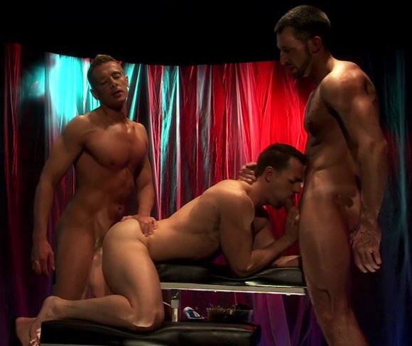 Titan Men FLUX gay sex threesome Andreas Cavalli and Slade fuck Marco Blaze