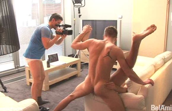 Bel Ami gay porn star Lukas Ridgeston directing gay porn in underwear