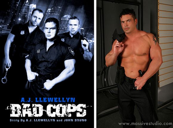 gay porn star Rob Romoni and Nash Lawler on the cover of Bad Cops Diaries