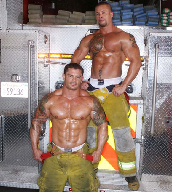 gay porn star bodybuilder Matthew Rush Mitchell on the set of Playing with Fire 4 Alarm
