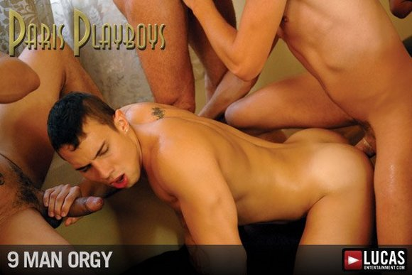 gay porn star Mike Colucci getting fucked in Paris Playboys 9 Man Orgy