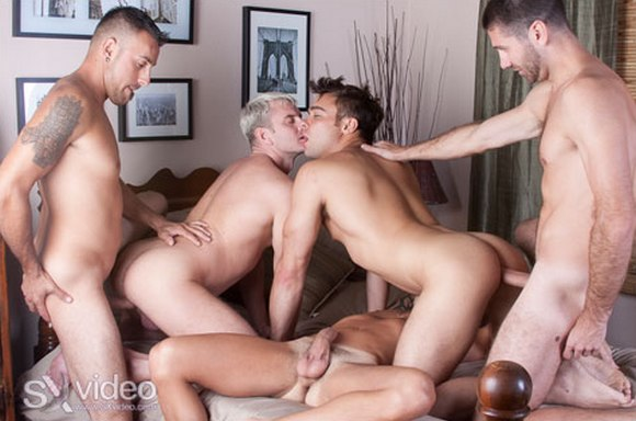 gay porn star Nelson Troy getting fucked bareback in SX video Double Fuck My Ass