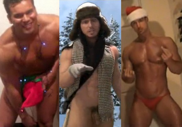 Christmas 2009 gay porn star Roman Heart Reese Rideout Trevor Adams