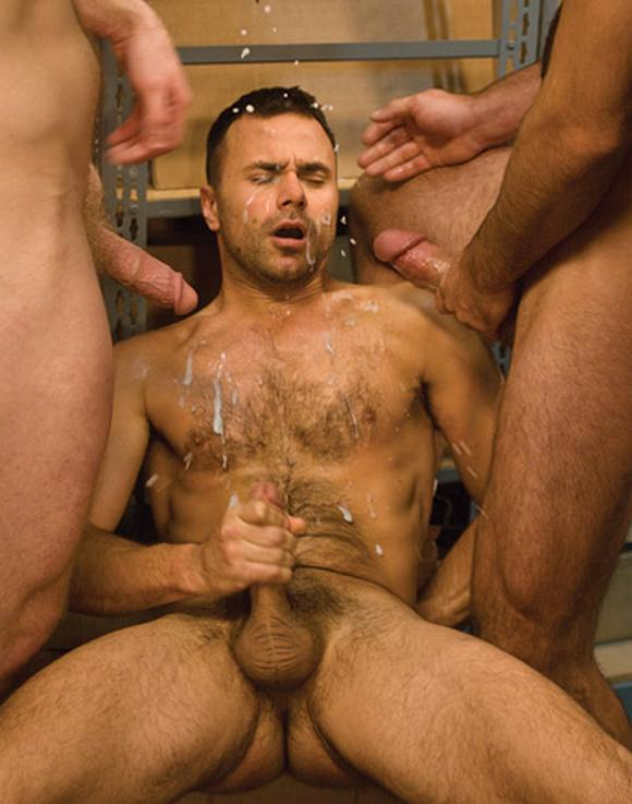 hairy gay porn star Conner Habib receiving splashing huge cumshot from Girth Brooks Colby Keller Laid Off