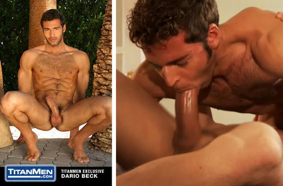 gay porn star Titan Men Exclusive Dario Beck sucking cock