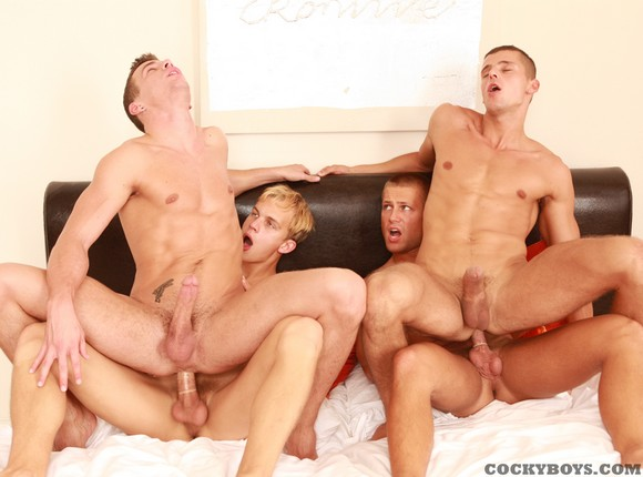 Cockyboys Jesse Santana and Bobby Clark have a hot fourway fuck with BelAmi models Luke Hamill and Manuel Rios gay sex orgy