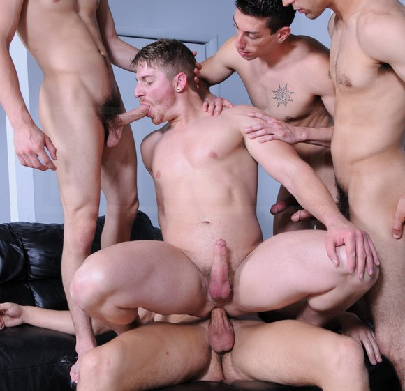 Hot guy gets fucked jizzed in gang bang