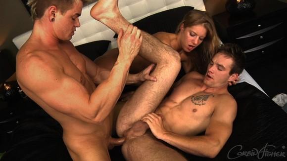 2 guys groping busty girl