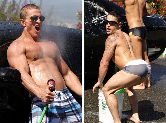 Gay Guys Wash Stud Instead Of A Car