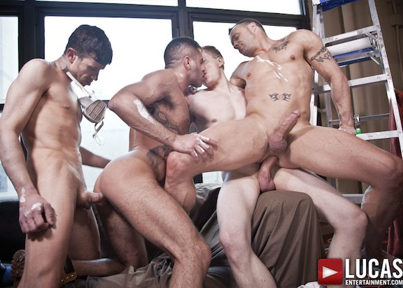 double sex orgy - Bareback Orgy and Double Penetration with Drew Sumrok, Marcus Isaacs, Peter  Stark & Jacob Lee