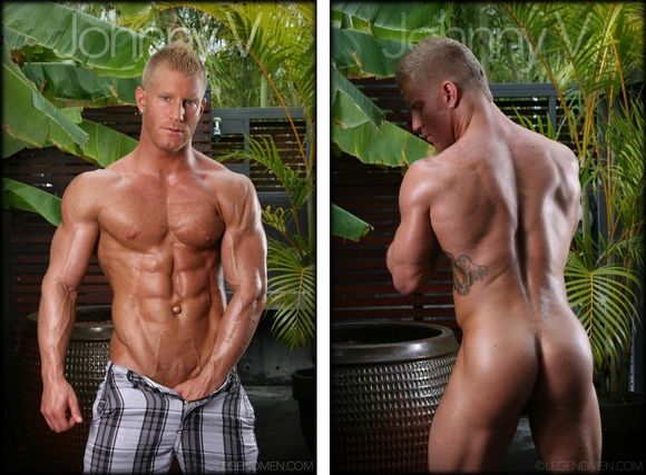 Blond hunk solo action