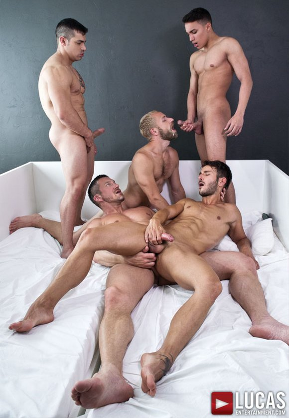 Cute guy barebacked in gay orgy