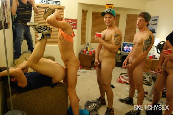 from Riley frat gay male orgy