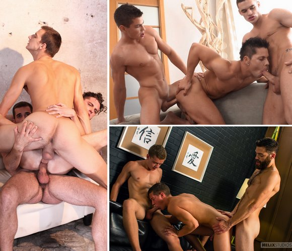 Gay Sex 3-Way BelAmi Staxus Helix