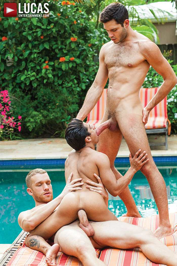 Gay Trio Hot Sex By The Pool