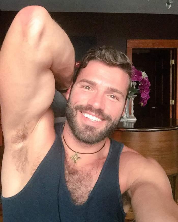 Naked man selfie hairy