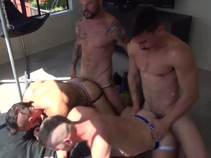 Derrick Hanson Aarin Asker Adam Avery Billy Warren Bareback Orgy