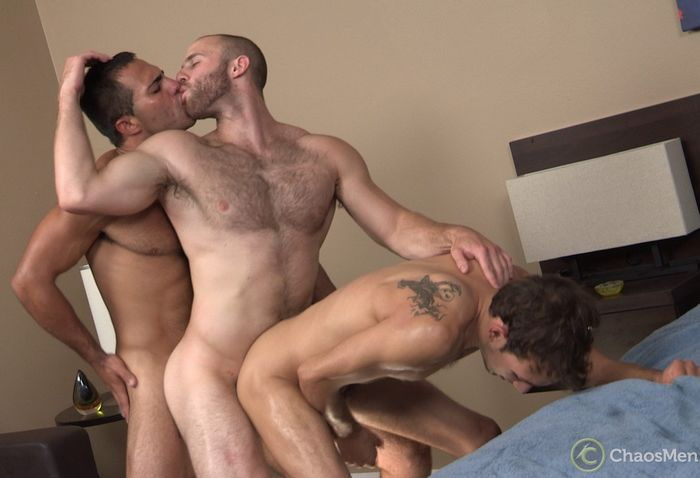 Three gay bareback sex and cum in mouth