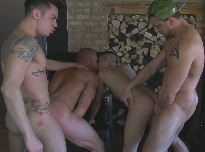 Gay Porn Orgy JoeyD JohnnyV Angel Cruz Cory Prince AmericanMuscleHunks