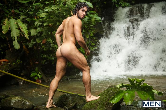 Homosexual sex by the waterfall