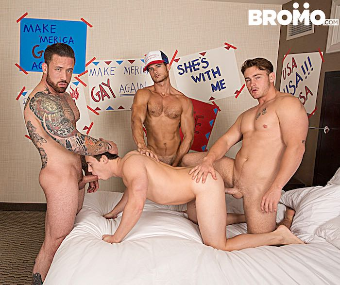 Grant gets gangbanged in a bareback college orgy for gay porn site fraternity