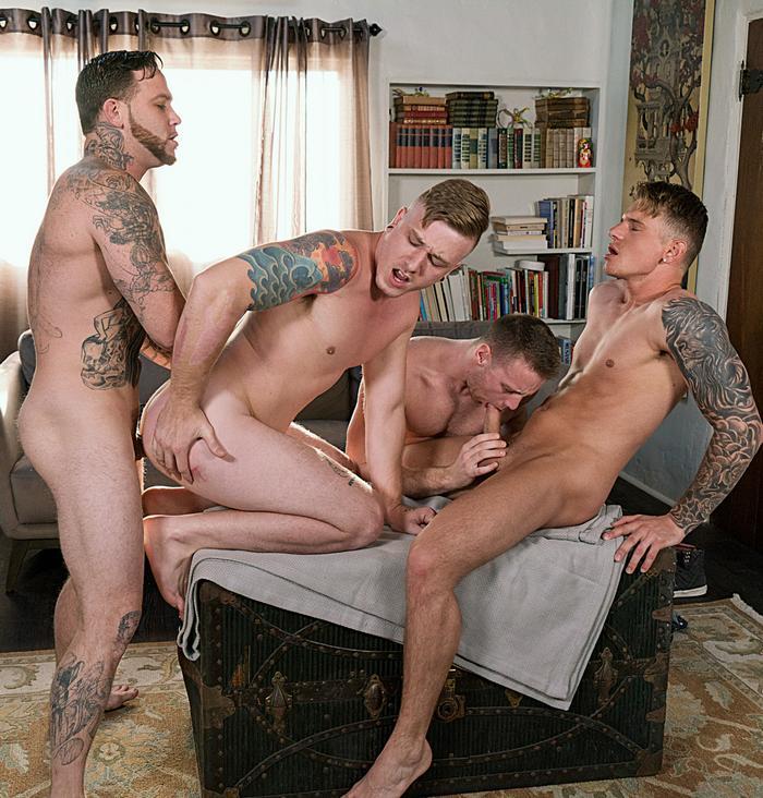 Brandon Evans Tom Faulk Gunner Gage Unkut Bareback Orgy Gay Porn