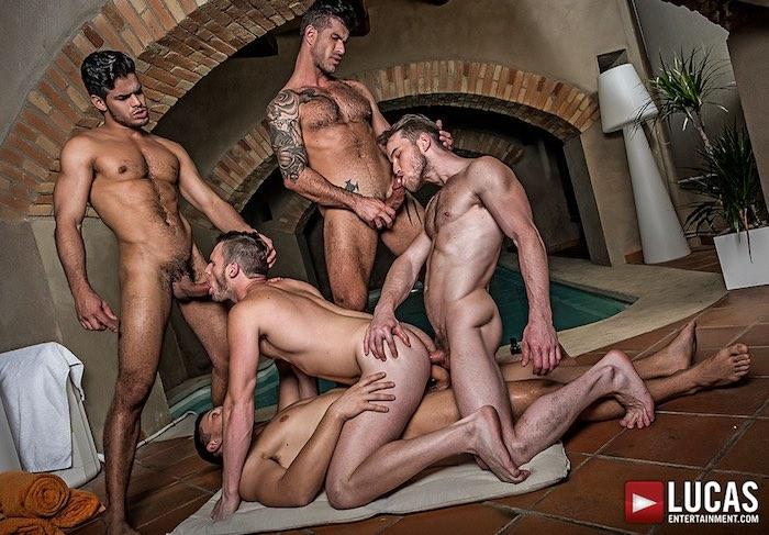 Gay Porn Brian Bond Bareback GangBang Rico Marlon Adam Killian Marq Daniels