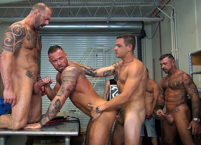 Michael Roman Bareback Gang Bang Gay Porn