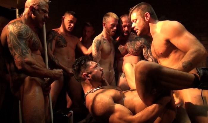 Seth Santoro 10-Man Bareback GangBang Gay Porn