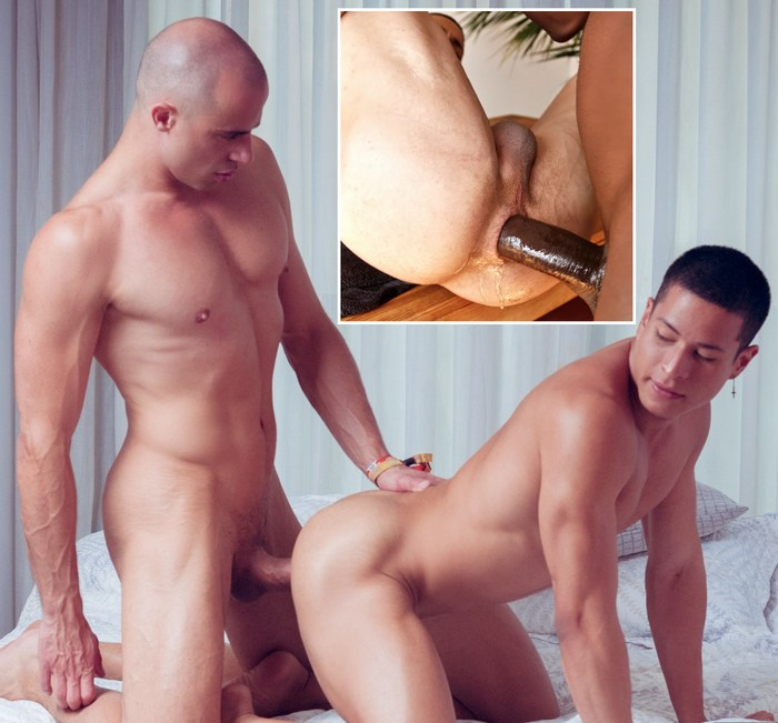 Bareback gay ass drilled by long cock