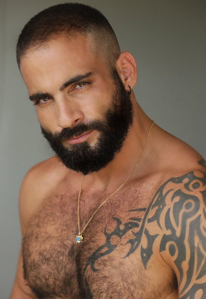 Edji Da Silva Gay Porn Star Beard Shirtless
