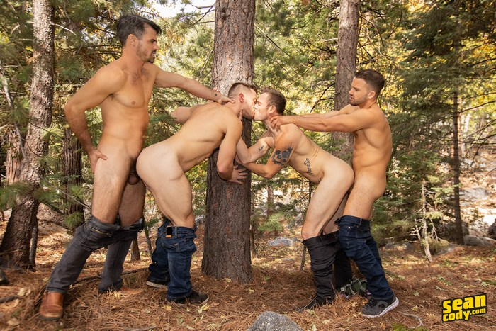 Gay fuck orgy fest outdoors