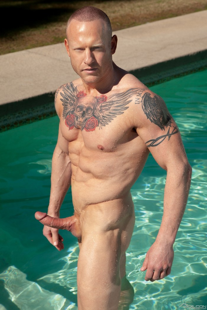 Aaron Savvy Gay Porn Star Naked Big Dick FalconStudios Pool
