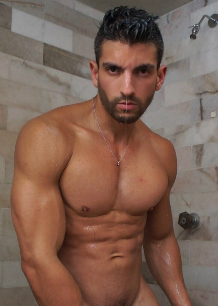 Alessandro Haddad Gay Porn Star Naked Shirtless Wet Muscle Hunk