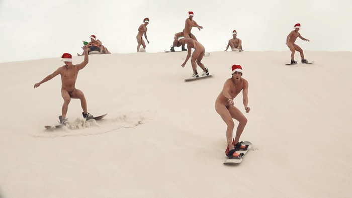 Naked sledge riders
