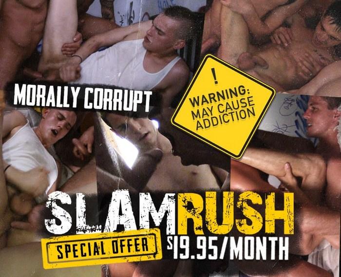 SLAM RUSH Gay Porn Bareback GangBang Orgy