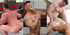 Collin Simpson Gay Porn Bodybuilder Naked Workout Caked Face